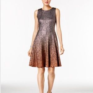 MSK Glitter Ombré Fit and Flare Dress